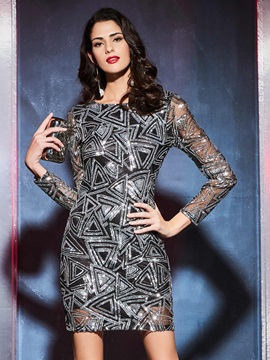 Geometric Sequins Patchwork Bodycon Dress