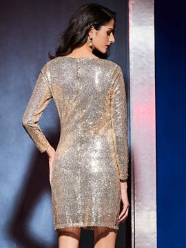 Round Neck Sequins Sheath Bodycon Dress