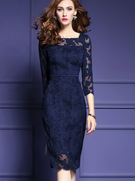 Pure Color Round Neck Long Sleeve Women's Lace Dress