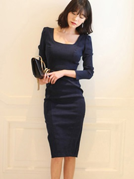 Pure Color Long Sleeve Bodycon Dress
