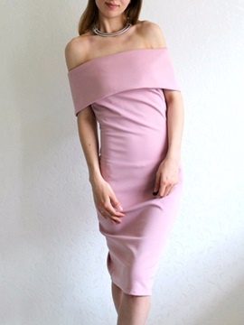 Pink Boat Neck Bodycon Dress