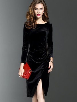 Pure Color Long Sleeve Velvet Women's Bodycon Dress