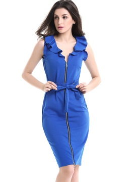 Solid Color Sleeveless Zipper Bodycon Dress