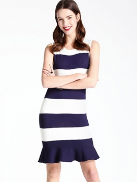 Slim Stripe Sleeveless Bodycon Dress