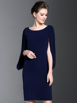 Chic Solid Color Round Neck Bodycon Dress