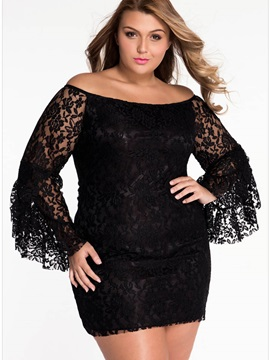 Black Flare Sleeve Lace Plus Size Bodycon Dress