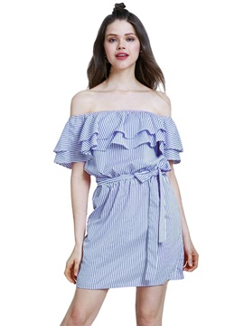Off Shoulder Falbala Women's Day Dress