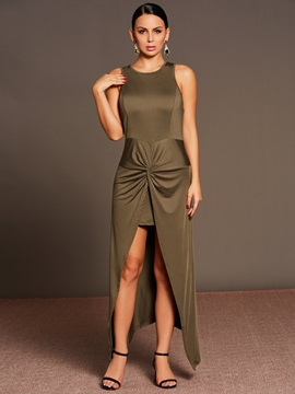 Asym Sleeveless Pleated Women's Bodycon Dress