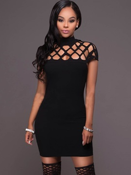 Sexy Black Hollow Bodycon Dress