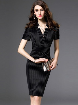 Vertical Stripes Short Sleeve Bodycon Dress