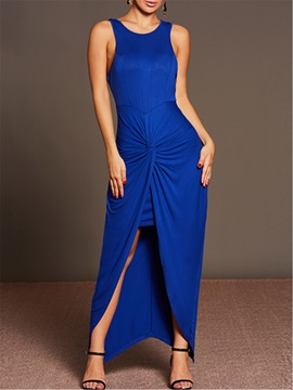 Vogue Pure Color Pleated Sleeveless Women's Bodycon Dress