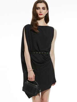 Slash Neck Plain Asymmetric Women's Bodycon Dress