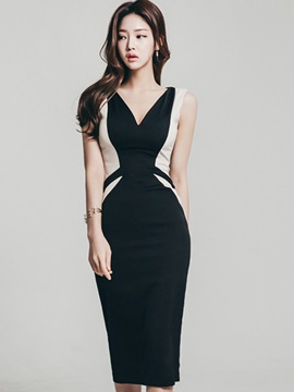 Slim V Neck Sleeveless Bodycon Dress