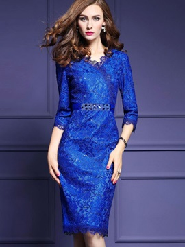 Blue Long Sleeve Lace Bodycon Dress