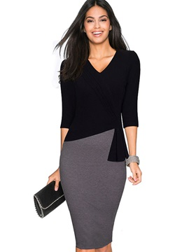 Chic Color Block Long Sleeve Bodycon Dress