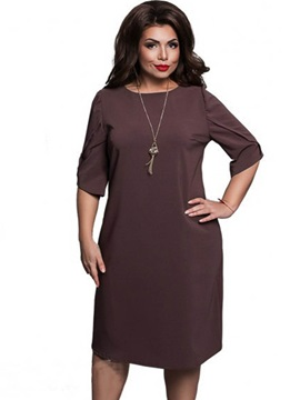 Solid Color Half Sleeve Plus Size Bodycon Dress