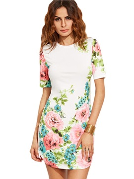 Vogue Floral Imprint Short Sleeve Bodycon Dress