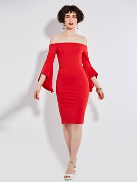 Flare Sleeve Backless Women's Bodycon Dress