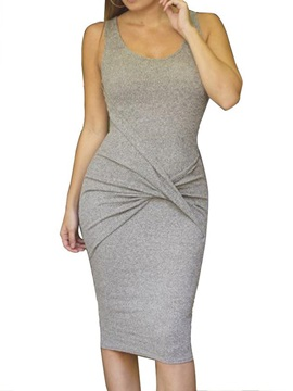 Scoop Sleeveless Women's Bodycon Dress