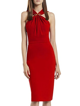 Red Sleeveless Women's Bodycon Dress