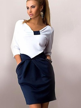 Half Sleeves V Neck Women's Dress
