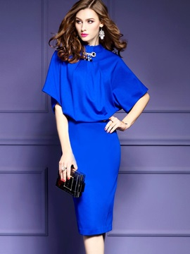 Hot Solid Color Short Sleeve Bodycon Dress