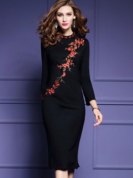 Black Long Sleeve Women's Bodycon Dress