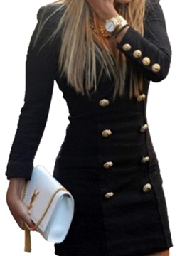 Long Sleeves Buttons Women's Bodycon Dress