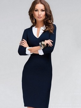 Fashion Solid Color Long Sleeve Bodycon Dress