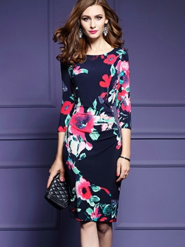 Round Neck Long Sleeve Floral Imprint Bodycon Dress
