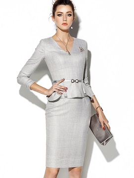 Chic Solid Color Long Sleeve Women's Bodycon Dress