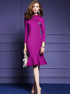 Chic Solid Color Long Sleeve Women's Knee Length Day Dress