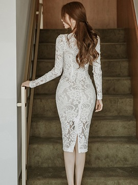 4ab368c10f White Patchwork Long Sleeve Women's Lace Dress : Tidebuy.com