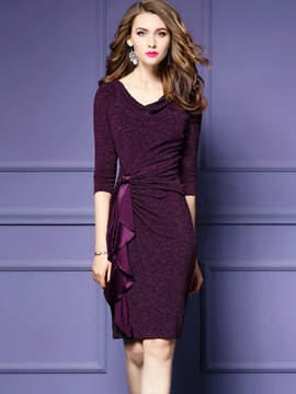 Hot Solid Color Round Neck Bodycon Dress