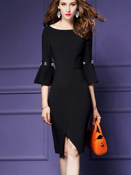 Nice Round Neck Long Sleeve Bodycon Dress