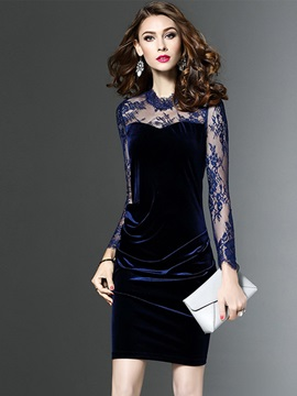 Slim Round Neck Long Sleeve Lace Women's Bodycon Dress