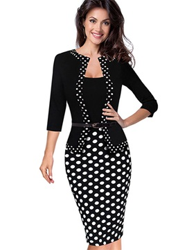 Polka Dots Long Sleeve Women's Bodycon Dress