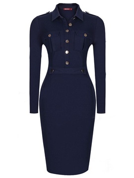 Dark Blue Long Sleeve Bodycon Dress
