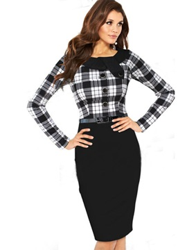Long Sleeve Round Neck Bodycon Dress