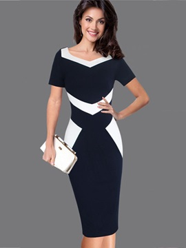 Vogue Color Block Short Sleeve Women's Bodycon Dress