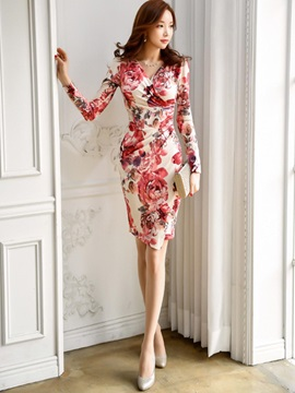 V Neck Floral Imprint Bodycon Dress