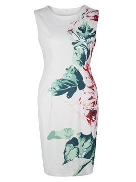 Round Neck Sleeveless Floral Print Women's Bodycon Dress