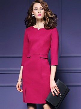 Solid Color Round Neck Half Sleeve Bodycon Dress