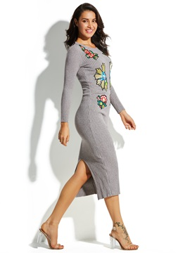 Mid-Calf Floral Embroideried Pullover Women's Sweater Dress