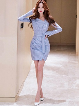 Stripe Long Sleeve Women's Bodycon Dress