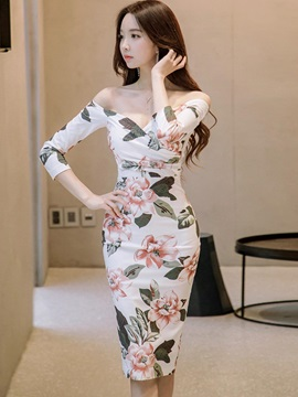 Sexy Floral Imprint Women's Bodycon Dress