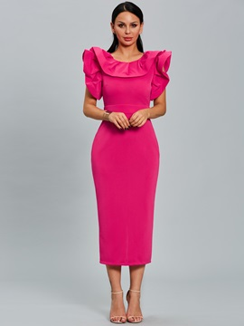 Solid Color Ruffle Sleeve Women's Bodycon Dress