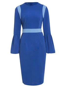 Color Block Flare Sleeve Women's Bodycon Dress