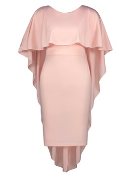 Solid Color Cape Sleeve Women's Bodycon Dress
