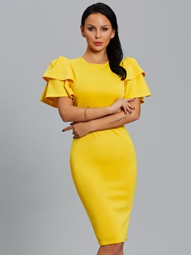 Solid Color Puff Sleeve Women's Bodycon Dress